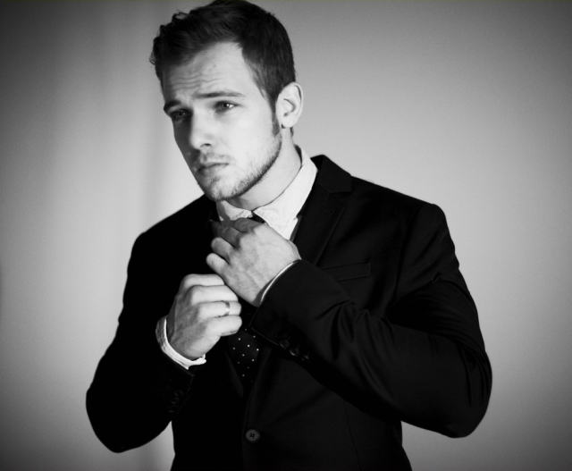 Max Thieriot - Black and White Photoshoot - Adjusting Tie